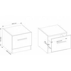 DENTRO DT-03L éjjeliszekrény, 40*40*35 cm - fehér/stirling tölgy