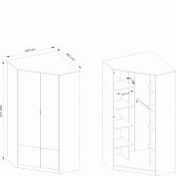 POK PO-01 sarok szekrény, 95*95*193 cm - grafit/világos szürke/ibsen tölgy