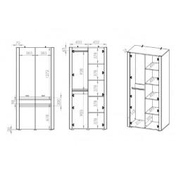 ARKO 01 akasztós+polcos szekrény, 92*55*201 cm