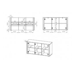 ARKO 09 3 ajtós komód, 138*42*72 cm