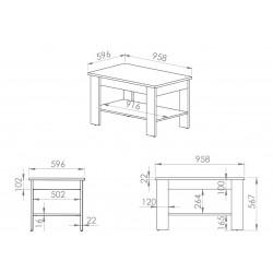 ARTIS 13 dohányzóasztal, 96*60*57 cm