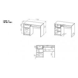 DROP 14 íróasztal, 119*55*79 cm - világos szürke