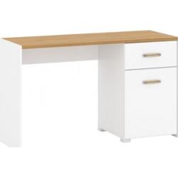ADAM B1D1S/130 íróasztal, 130*49,5*77,5 cm - fehér/tölgy