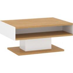 ADAM LAW/90 dohányzóasztal, 89*65,5*41 cm - fehér/tölgy