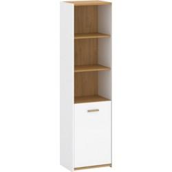 ADAM RO1D nyitott polcos szekrény, 53,5*41*202,5 cm - fehér/tölgy
