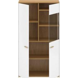 ADAM W1D1W/90 alacsony vitrin, 90*41*161,5 cm - fehér/tölgy