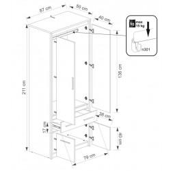 AYSON SZ4D1S akasztós szekrény, 86,5*50*210,5 cm - artisan tölgy