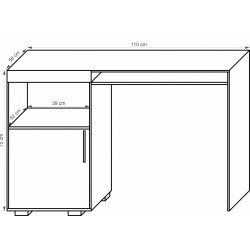 DAMIS B1D1S/110 íróasztal, 110*58*75 cm - sonoma tölgy