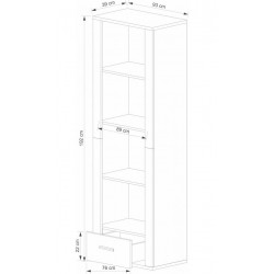 GRESS R1S/60 nyitott polcos szekrény, 63*39*192 cm - sonoma