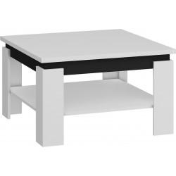 ALFA dohányzóasztal, 80*80*48 cm - fehér/fényes fekete