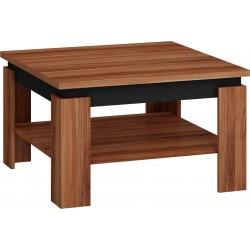 ALFA dohányzóasztal, 80*80*48 cm - wallis szilva/fényes fekete