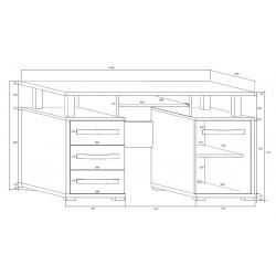 ANGEL ANG-03 íróasztal, 135*58*77 cm - sonoma/fehér