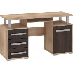 ANGEL ANG-03 íróasztal, 135*58*77 cm - világos sonoma/sötét sonoma