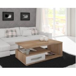 ANGEL ANG-07 dohányzóasztal, 118*74*43 cm - sonoma/fényes fehér