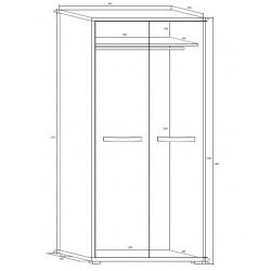 Angel ANG-13 akasztós szekrény, 90*53*198 cm - sonoma/fehér