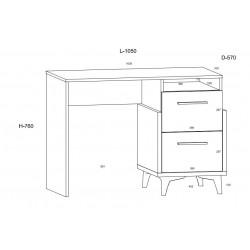 HEY HEY-03 íróasztal, 105*57*76 cm - Artisan tölgy/fehér/kék