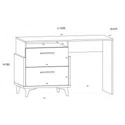 HEY HEY-04 íróasztal, 125*57*76 cm - Artisan tölgy/fehér/kék