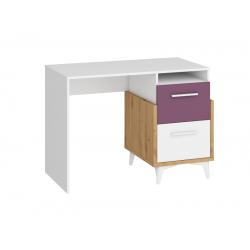 HEY HEY-03 íróasztal, 105*57*76 cm - Artisan tölgy/fehér/ibolya