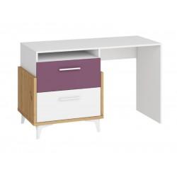 HEY HEY-04 íróasztal, 125*57*76 cm - Artisan tölgy/fehér/ibolya
