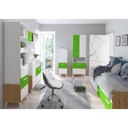 HEY HEY-01 alacsony szekrény, 45*42*127 cm - Artisan tölgy/fehér/zöld