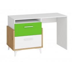 HEY HEY-04 íróasztal, 125*57*76 cm - Artisan tölgy/fehér/zöld