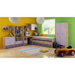 Kitty Szett 1 gyerekbútor - világos sonoma/ibolya