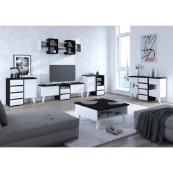 Nordis 4. nappali bútor - fekete/fehér