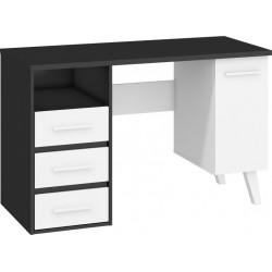 NORDIS NOR-01 íróasztal, 125*57*79 cm - fekete/fehér