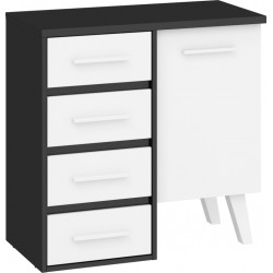 NORDIS NOR-03 1 ajtós+4 fiókos komód, 80*42*79 cm - fekete/fehér