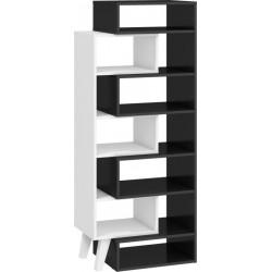 Nordis NOR-12 nyitott polcos szekrény, 62-80*40*152 cm - fekete/fehér