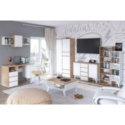 Nordis NOR-12 nyitott polcos szekrény, 62-80*40*152 cm - világos sonoma/fehér