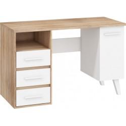 NORDIS NOR-01 íróasztal, 125*57*79 cm - világos sonoma/fehér
