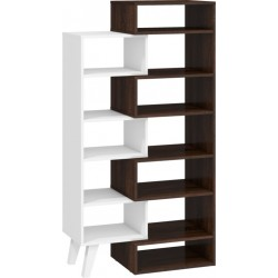 Nordis NOR-12 nyitott polcos szekrény, 62-80*40*152 cm - sötét sonoma/fehér