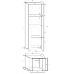 NOTTI NOT-04 2 ajtós polcos szekrény, 50*48*195 cm - világos sonoma/sötét sonoma