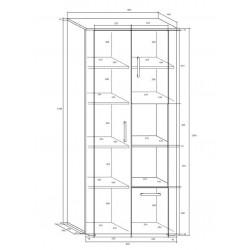 Notti NOT-06 polcos szekrény, 80*48*185 cm - világos sonoma/sötét sonoma