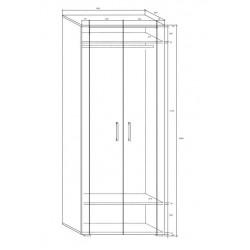 Notti NOT-07 akasztós szekrény, 80*56*205 cm - világos sonoma/sötét sonoma