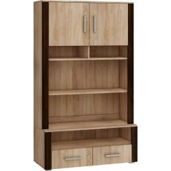 NOTTI NOT-05 könyves szekrény, 110*48*185 cm - világos sonoma/sötét sonoma
