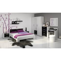 VIKI hálószoba - fehér/fényes fekete