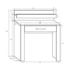 VIKI VIK-15 fésülködőasztal, 80*42*94 cm - sonoma/fényes fehér