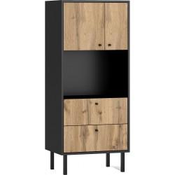 BOSPE 2D2S 2 ajtós+2 fiókos alacsony szekrény, 57*42*135 cm - wotan tölgy/fekete  ÚJDONSÁG!