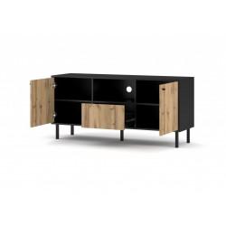 BOSPE RTV szekrény, 140*42*65 cm - wotan tölgy/fekete