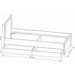 ARIZONA RRL-1 ágy, 90*200 cm - Artisan tölgy