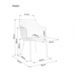 ASTOR karfás szék, 46*46*84 cm - Tap.06 szürke