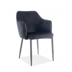 ASTOR Velvet karfás szék, 46*46*84 cm - Bluvel 19 fekete