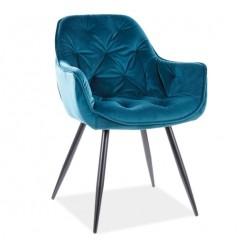 CHERRY Velvet fémvázas szék, 45*44*83 cm - Bluvel 85 türkiz