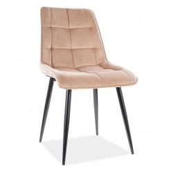 CHIC Velvet fémvázas szék, 50*43*88 cm - fekete/Bluvel 28 beige