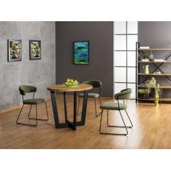 CONO étkezőasztal, 90*90*78 cm, tömörfa - fekete/tölgy