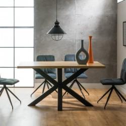 CROSS étkezőasztal, 180*90*75 cm - fekete/natur tölgy