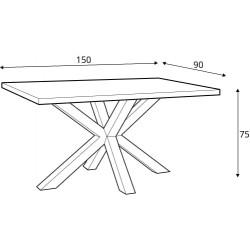 CROSS étkezőasztal, 150*90*75 cm - fekete/ natur tölgy