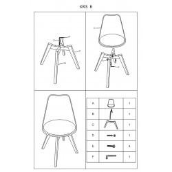 KRIS étkezőszék, 49*41*83 cm - tölgy/fehér
